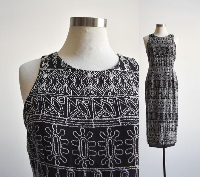 Black 90s Embroidered Midi Dress by milkandice