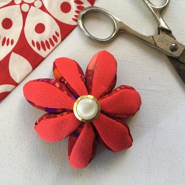 Vintage Handmade Pin Cushion, Polyester Red Fabric With White And Gold Button by luckduck