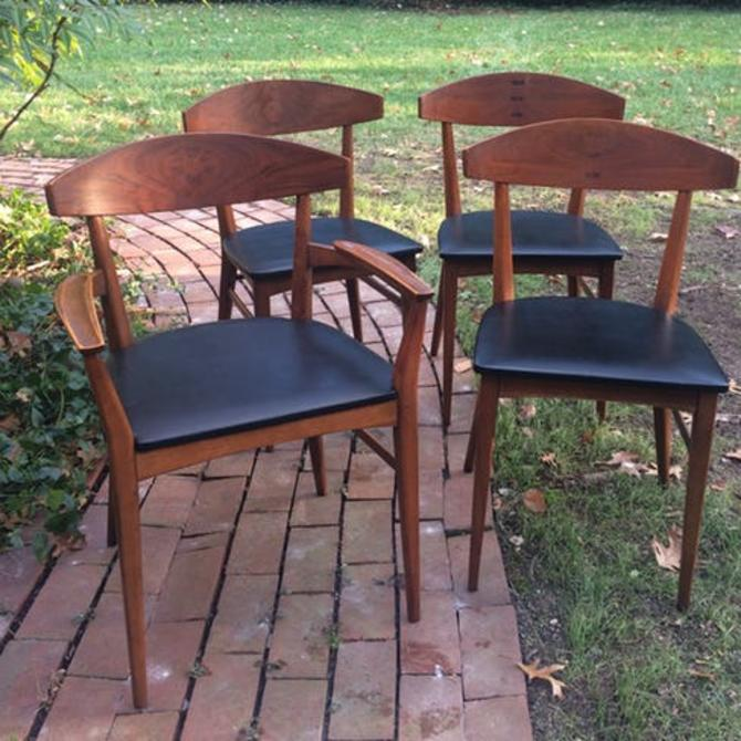 Set of 4 vintage mid century walnut dining chairs