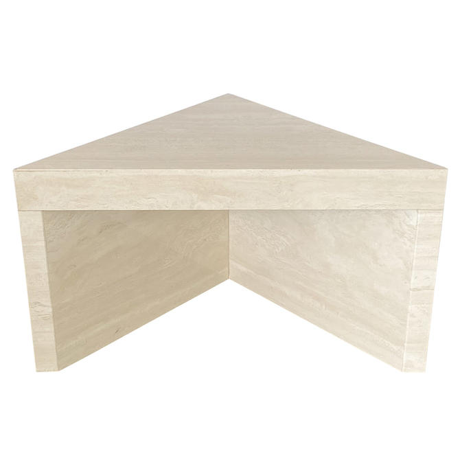 Triangular Travertine End Table