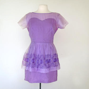 1960s fitted peplum lilac embroidered wiggle dress by flutterandecho
