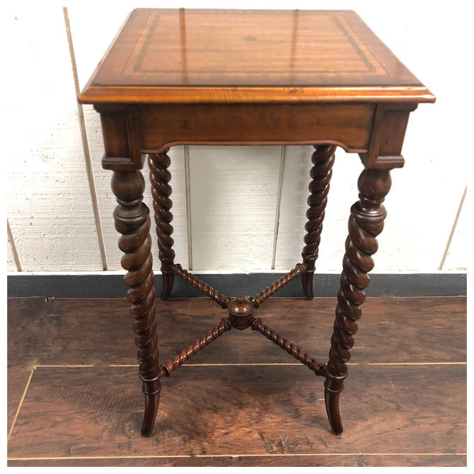 Maitland Smith regency style barley rope twist occasional table with inlay by RustandRefind