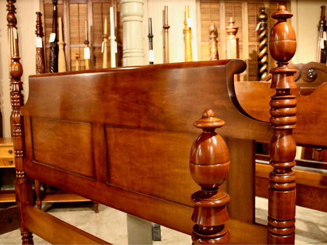 Acorn Top Bed in Maple, Original Posts Circa 1830, Resized to King
