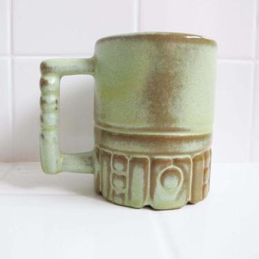 Vintage 60s Frankoma Aztec Mug - 60s Coffee Mug - Mint Green Brown Ceramic Mug - Bohemian Kitchen - Coffee Lover Gift Housewarming by MILKTEETHS