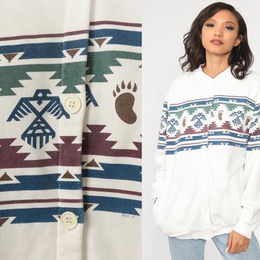 90s Southwestern Sweatshirt Native American Eagle Bear Aztec Cardigan Print Southwest Sweater Tribal 1980s Vintage Button Up Large by ShopExile