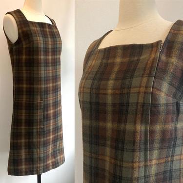 Adorable PLAID WOOL JUMPER Pinafore Dress / Side Zip + Oversized Pocket by CharmVintageBoutique