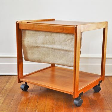 Danish Modern Teak Magazine Stand Side Table Cart by FBJ Møbler by SourcedModern