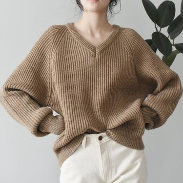 vintage alpaca wool blend sweater, beige knit pullover, size L by ImprovGoods