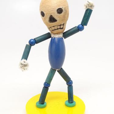 Vintage Halloween Skeleton, Wooden Beads with Spun Cotton Head, Chenille Hands, Retro Toys Day of the Dead by exploremag