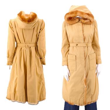 70s COURREGES khaki fur trim trench coat  / vintage 1970s cotton canvas rabbit trim hooded jacket coat M - L by ritualvintage