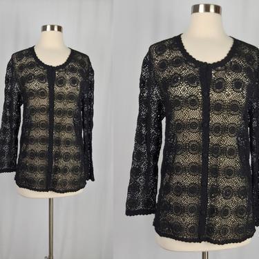Vintage Seventies Hand Crochet Cardigan - 1970s Black Cotton Sweater - 70s Boho Begonia Top - Large by JanetandJaneVintage