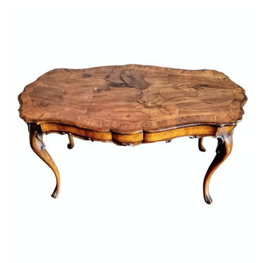 Italian Mid-Century Venetian Patchwork Burl Wood Coffee Table with Serpentine Undulating Curved Carved Walnut Maple Beech circa 1940 by LynxHollowAntiques