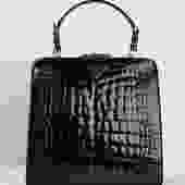 PRADA 90s Black Structured Crocodile Bag