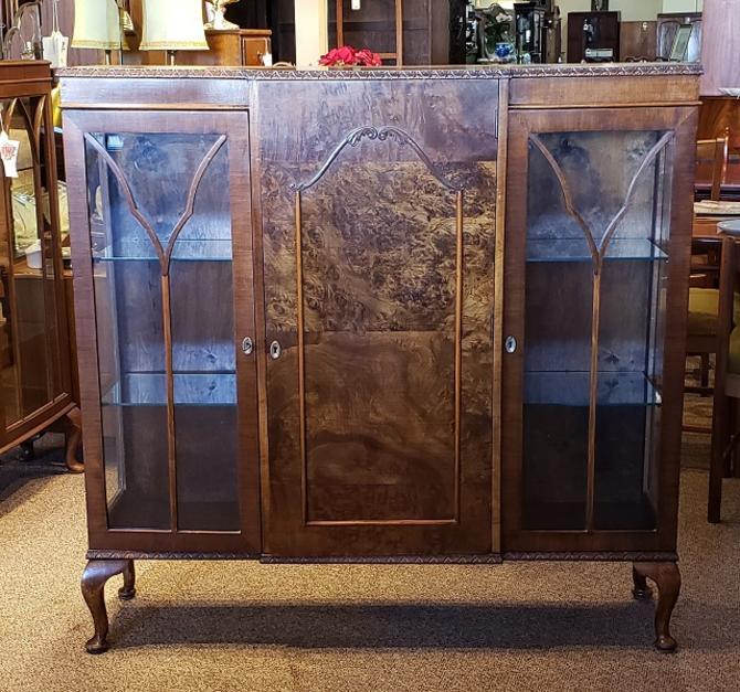 Item #S101 Burl Walnut Display Cabinet c.1940s