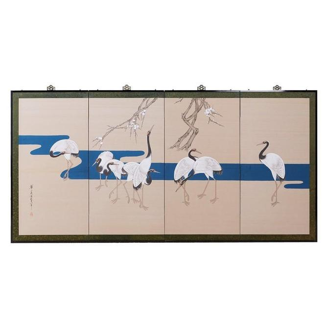 Japanese Showa Four-Panel Screen of Red Crowned Cranes by ErinLaneEstate