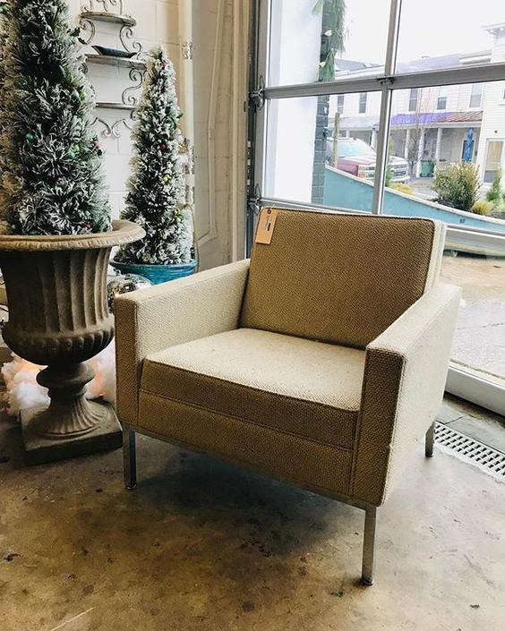 Midcentury modern Tweed upholstered armchair