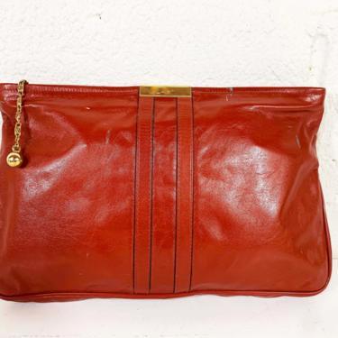 Vintage Reddish Brown Leather Clutch Bag Purse Handbag Tan Leather Burgundy Envelope Gold Evening 1960s 60s Boho Bohemian by CheckEngineVintage