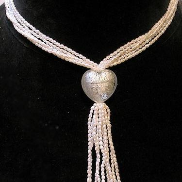 Cafe Society Collection:  White Pearl with White Murano Glass Heart by CafeSocietyStore