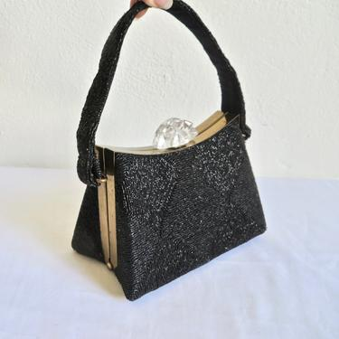 Vintage 1940's 50's Black Shiny Corded Structured Triangle Purse Clear Lucite Closure Gold Hardware Top Handle Handbag Evening Bag by seekcollect