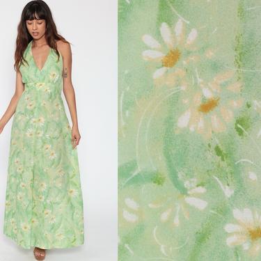 Floral Halter Dress 70s Boho Maxi Summer PLUNGING Deep V Neck Green Print Sundress Bohemian Empire Hippie Vintage Backless Medium by ShopExile