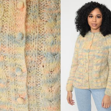 Mohair Sweater Boho Cardigan PASTEL Sweater 60s Bohemian WOOL Knit Striped 70s Sweater Grandma Baby Pink Blue Vintage Small Medium by ShopExile
