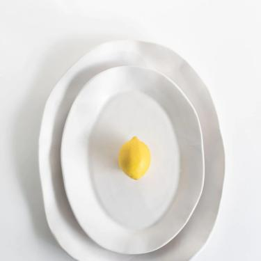 White Matte Serving Platter, Handmade Ceramic Serving Platter, Medium Platter, Large Platter, Stoneware by TagliaferroCeramics