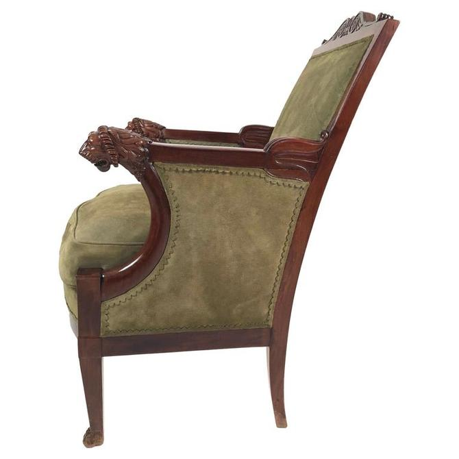 French Empire Mahogany Fauteuil with Carved Lion's Head Armrests circa 1805-1810