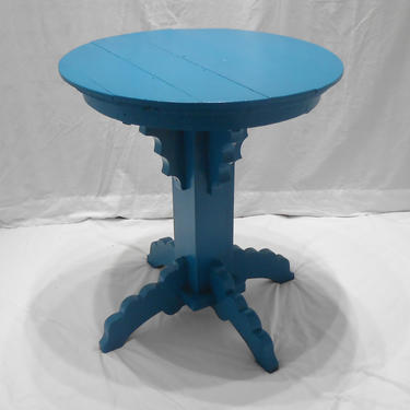 Antique Round Pedestal Table Scallop Design End Table Lamp Bedside Table Entryway Table New Peacock Blue Paint Cottage Decor Solid Wood by kissmyattvintage