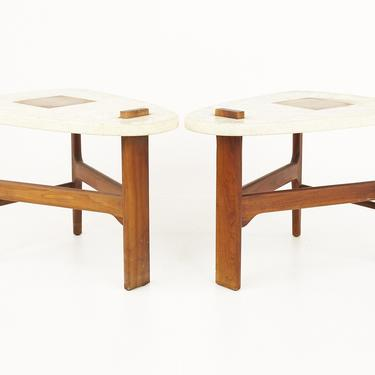 Harvey Probber Style Mid Century Walnut Side End Tables - Pair - mcm by ModernHill
