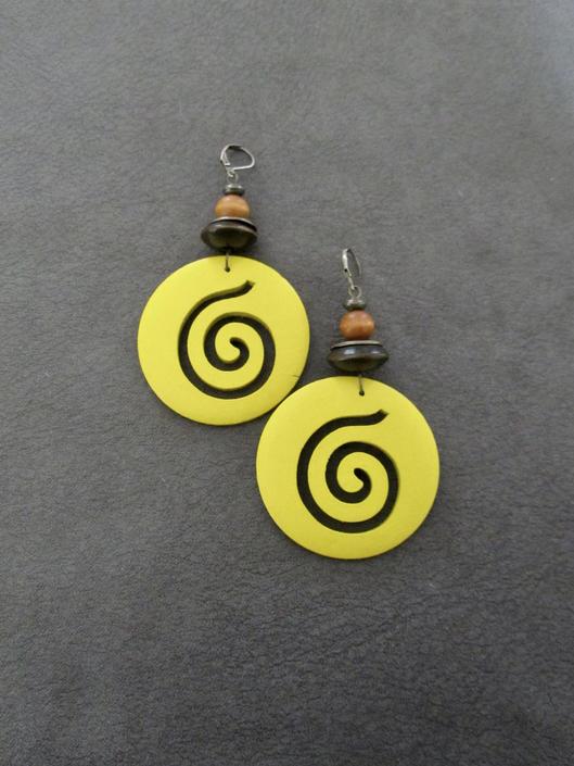 Carved wooden earrings, ethnic earrings, tribal earrings, yellow earrings, Afrocentric earrings, African earrings, boho earrings, spiral 2 by Afrocasian