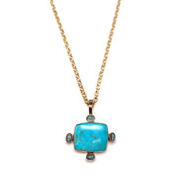 Turquoise Apatite Pendant Necklace