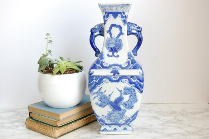 Blue & White Chinoiserie Vase Blue White Decor Asian Vase by PursuingVintage1