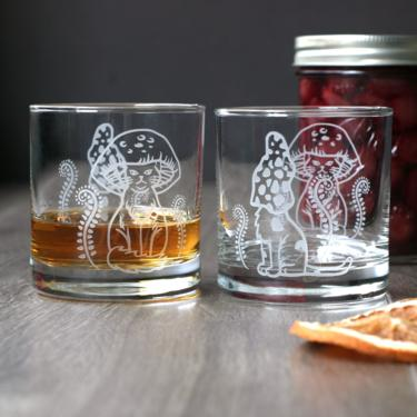 Mushroom Cats Tumbler Glass - Etched Lowball DOF or Highball Cocktail Glassware by BreadandBadger