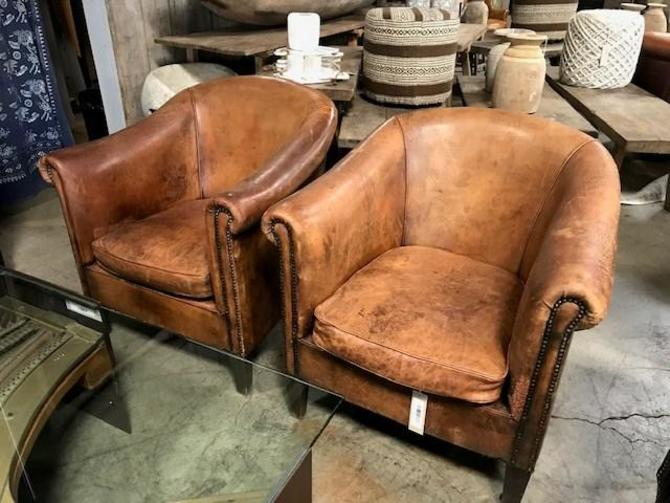 VINTAGE LEATHER CLUB CHAIRS WITH NAILHEAD DETAIL -PAIR