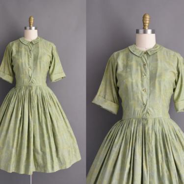 1950s vintage dress   Sage Green Polished Cotton Short Sleeve Full Skirt Summer Shirt Dress   Medium   50s dress by simplicityisbliss