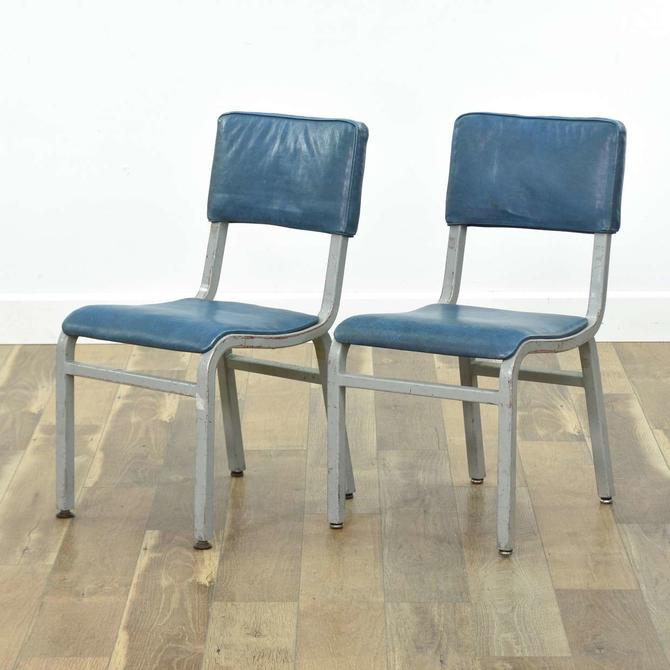 Pair Of Vintage Medical Industrial Blue Accent Chairs