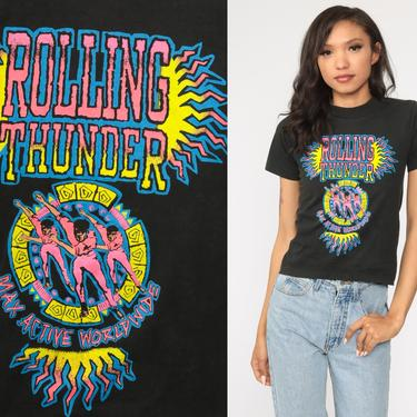 90s Rollerblading Shirt Neon Rolling Thunder Graphic Shirt Rollerblade Tee 90s Tshirt Vintage T Shirt Tee 1990s Sports Black Extra Small xs by ShopExile