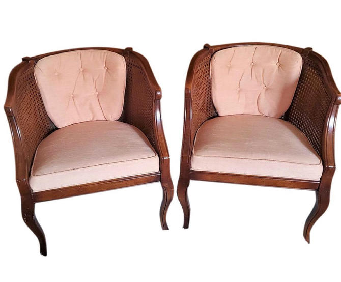 MCM Barrel Back Chairs, Vintage Cane Chairs, Louis XV Style Chairs, Hollywood Regency, Home Decor Pair of 2 Chairs by 3GirlsAntiques