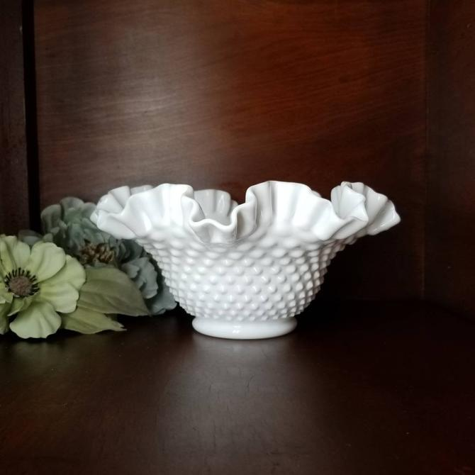 Vintage Milk Glass Bowl / White Hobnail Bowl / Small Table Centerpiece / Ruffled Double Crimped Edge Console Bowl / White Glass Home Decor by SoughtClothier
