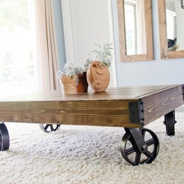 Factory Cart Industrial Coffee Table, Factory Cart Coffee Table, Distressed Coffee Table, Rustic Coffee Table, Industrial Coffee Table by ArcherHomeDesigns