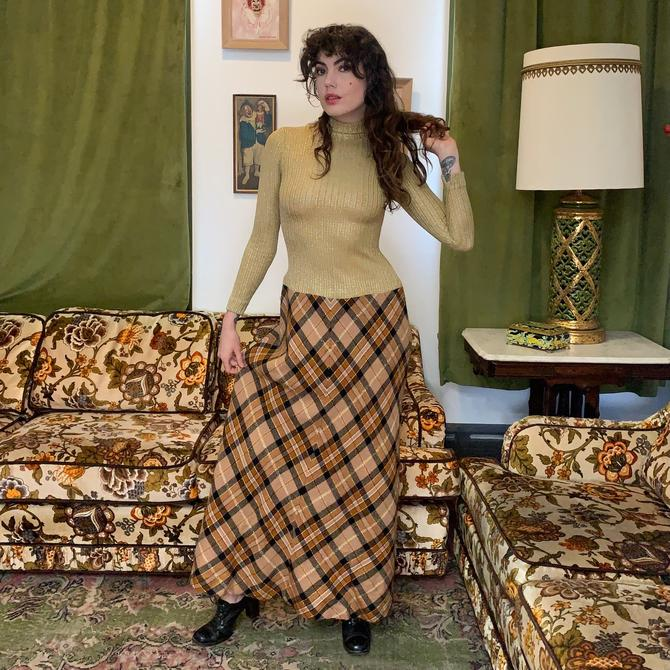 70's MAXI DRESS - golden - drop waist - x-small/small by GlamItToHell