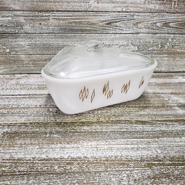 Vintage Triangle Casserole Dish + Lid, Atomic Gold Diamond Mid Century Warming Dish, Milk Glass Cookware, Retro Serving Bowl Vintage Kitchen by AGoGoVintage