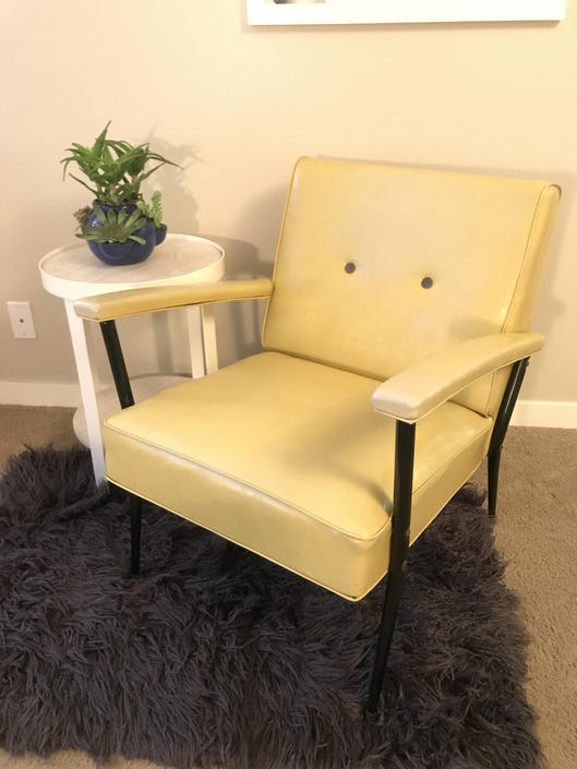 Vintage yellow armchair with ottoman, 1920s vinyl by LittleChairShop