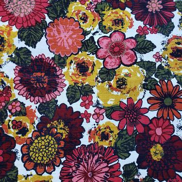 Vintage 1960's Floral Print Fabric / 70s Red and Pink Floral Fabric by SilhouettetsyVintage