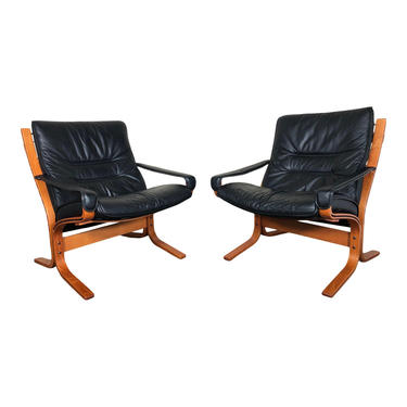 Pair Of Ingmar Relling Siesta Chairs with Arms Armrests Low Back By Ekornes by RetroPassion21