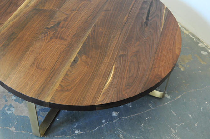 "36"" Solid Walnut Table w/Brass Base - Dylan Design Co. by dylangrey"