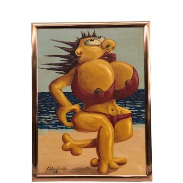 Vintage MCM Original Painting Woman On Beach Sand Bikini Signed 94 Handpainted Humor mid century modern retro deco human by BigWhaleConsignment