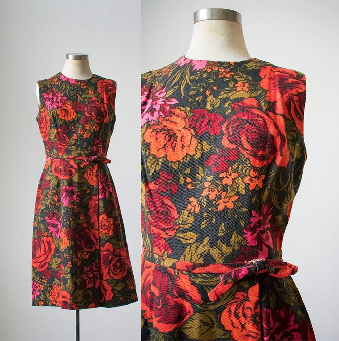 Vintage 1960s Cocktail Dress / Fall Colors / Floral Cocktail Dress / Vintage Linen Cocktail Dress / Mad Men Dress Small / 60s Mad Men Dress by milkandice