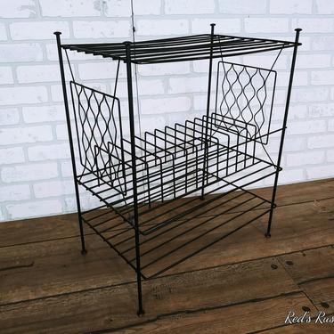 Mid Century Black 3 Tier Wire Record Rack Record Player Holder by RedsRustyRelics