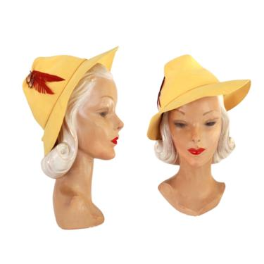 1940s Yellow Fedora - Vintage Yellow Fedora - 1940s Womens Yellow Fedora - 1940s Womens Fedora - 1940s Yellow Hat - Womens Yellow - 40s Hat by VeraciousVintageCo